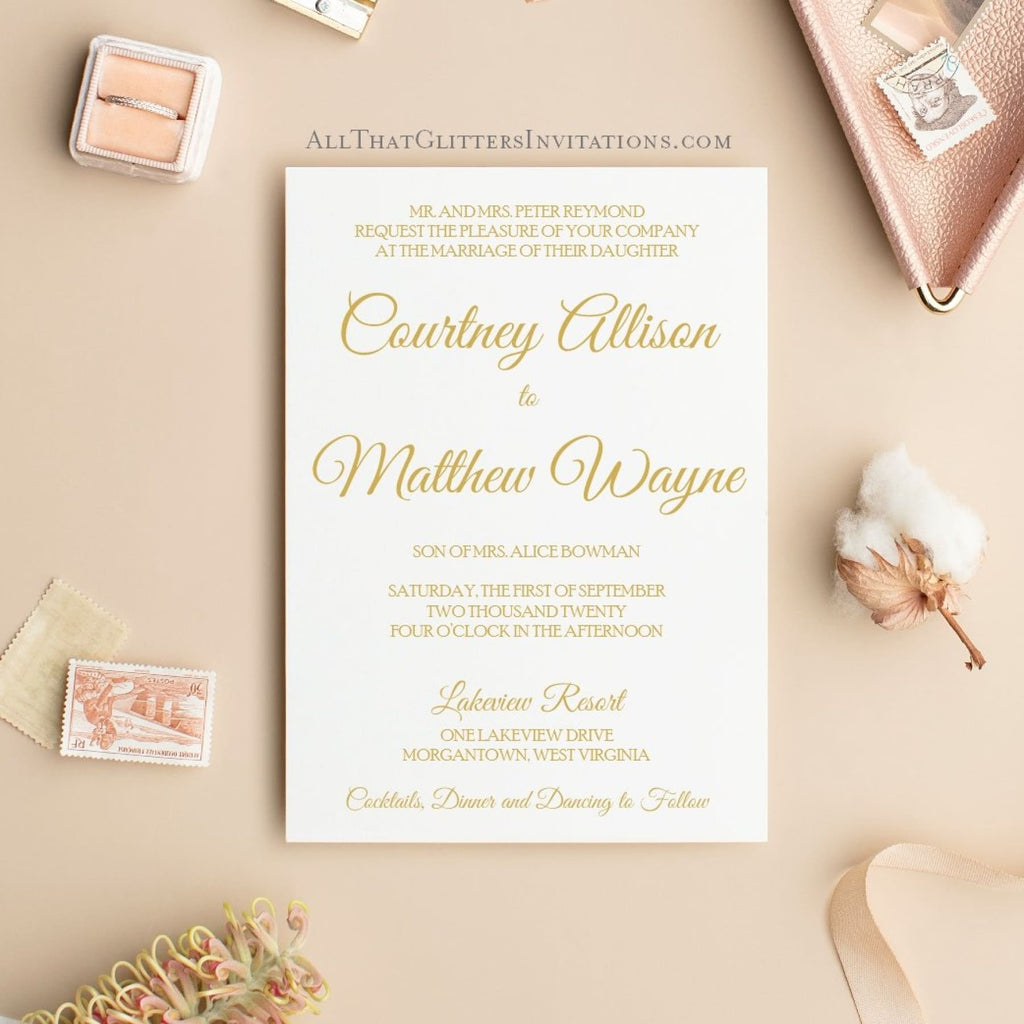 Elegant Wedding Invitation, Evelyn - All That Glitters Invitations