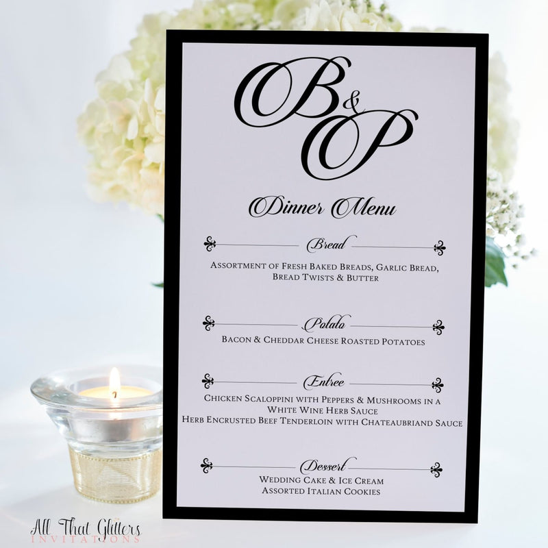 Elegant Wedding Reception Dinner Menu, Brittney - All That Glitters Invitations