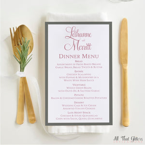 Elegant Wedding Reception Dinner Menu, Leihanne - All That Glitters Invitations