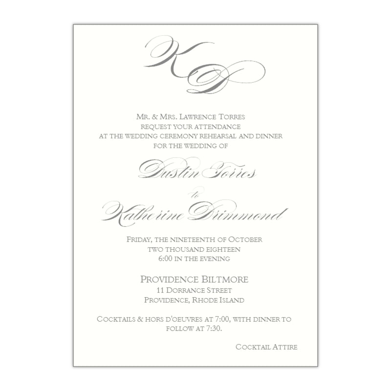 Elegant Wedding Rehearsal Dinner Invitation, Katherine - All That Glitters Invitations