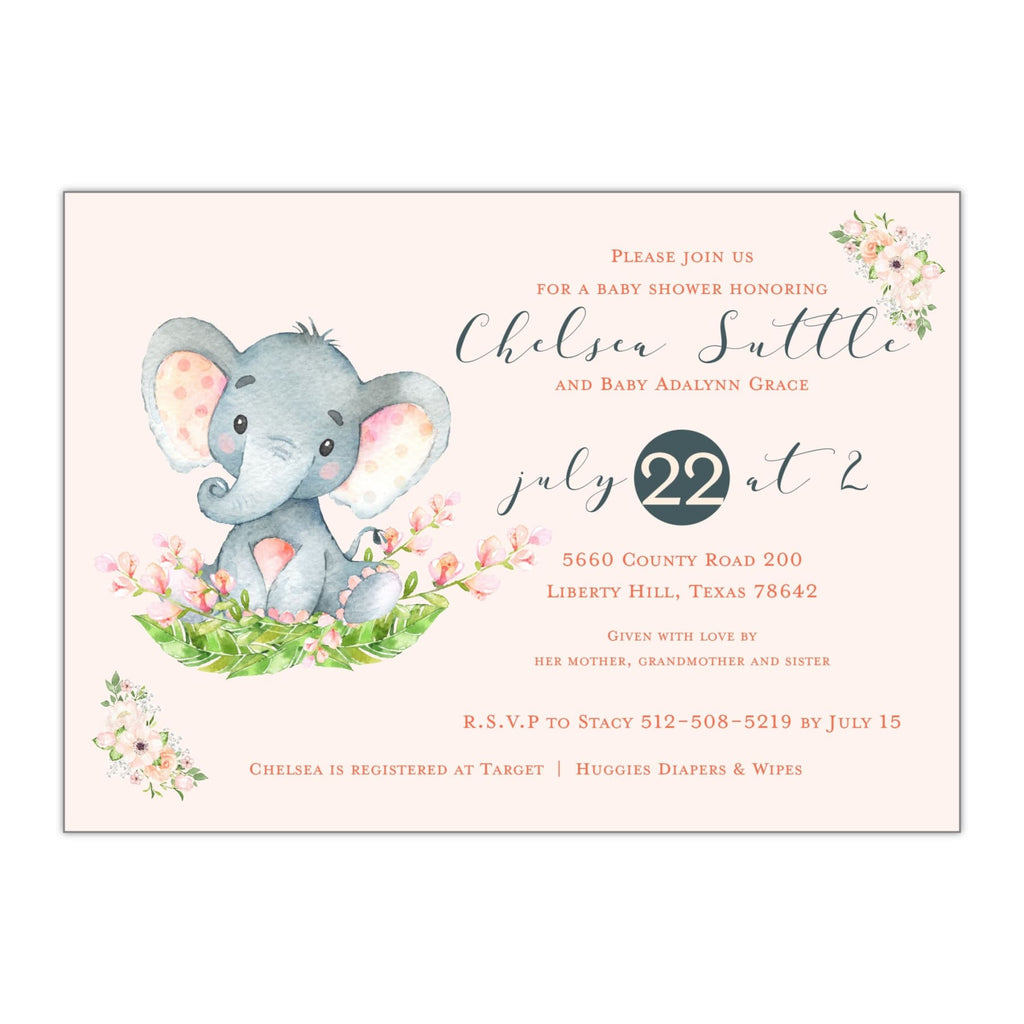Elephant Baby Shower Invitation - All That Glitters Invitations
