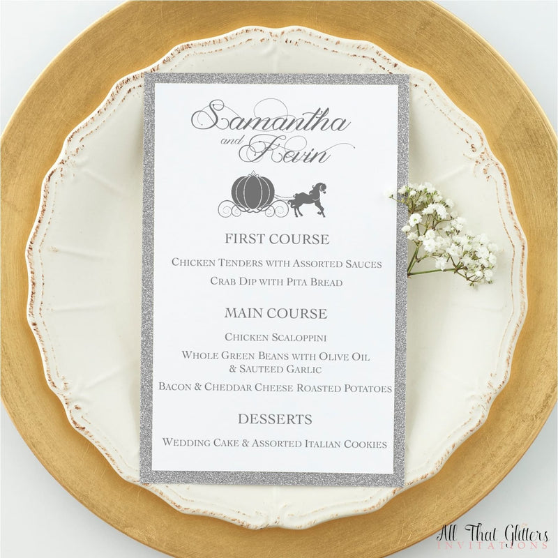 Fairy Tale Wedding Reception Dinner Menu, Lillianna - All That Glitters Invitations