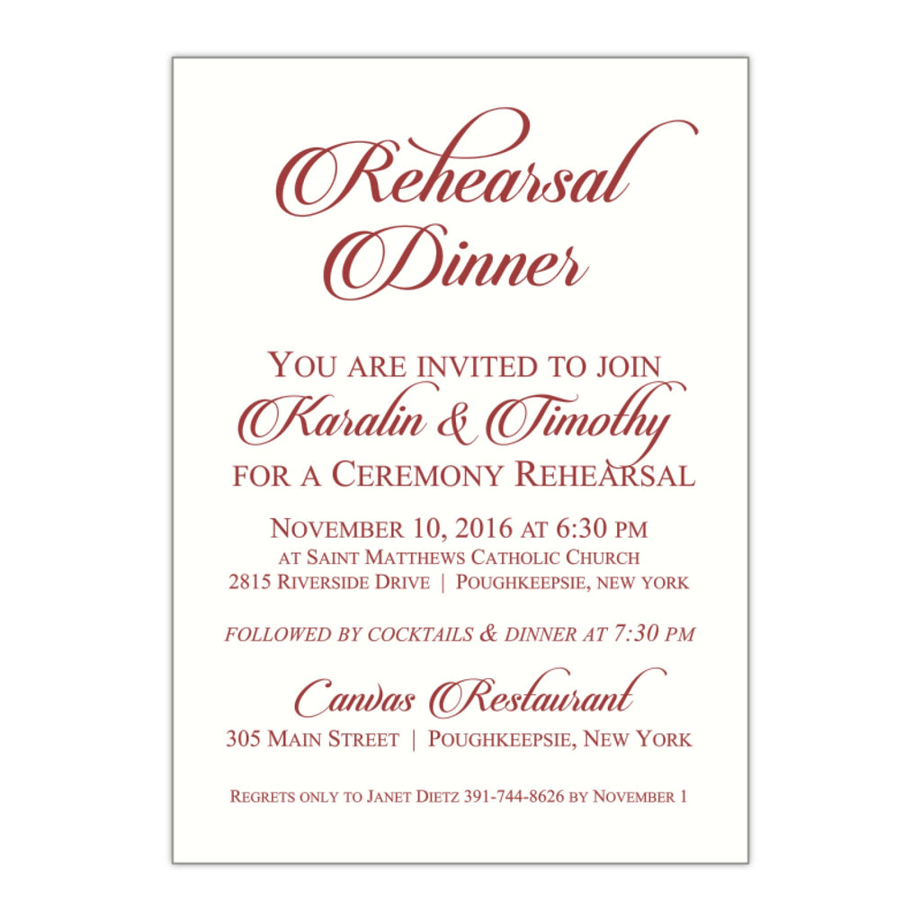 Fancy Calligraphy Rehearsal Dinner Invitation, Karalin - All That Glitters Invitations