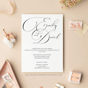 Fancy Calligraphy Wedding Invitation, Emily - All That Glitters Invitations
