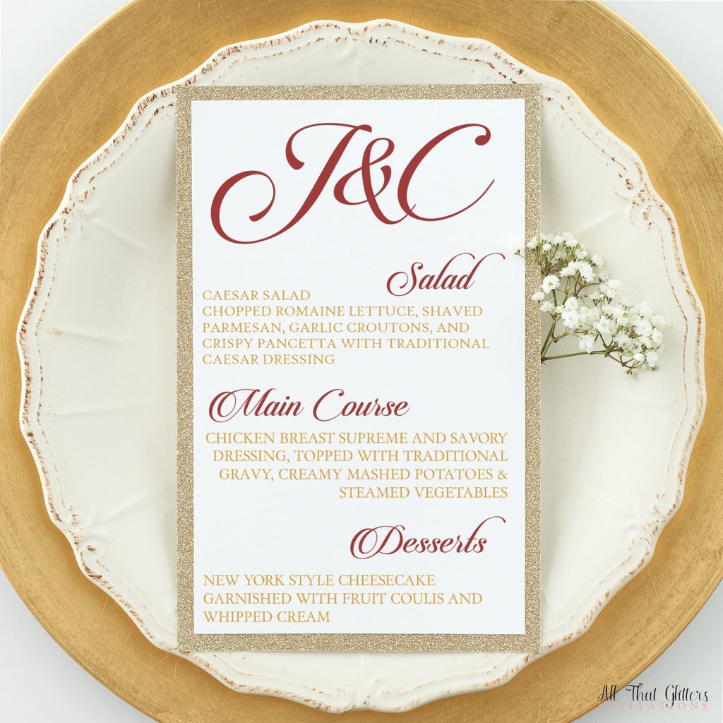 Fancy Wedding Reception Dinner Menu, Julietta - All That Glitters Invitations