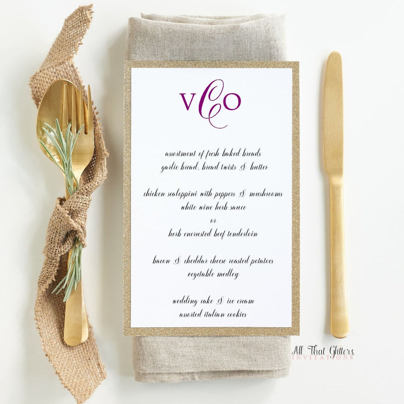 Fancy Wedding Reception Menu, Victoria - All That Glitters Invitations