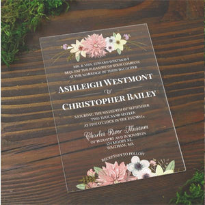 Floral Color Acrylic Wedding Invitation - All That Glitters Invitations