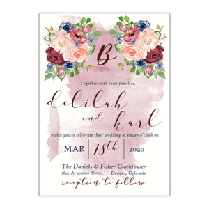 Flowers and Watercolor Wedding Invitation, Delilah - All That Glitters Invitations