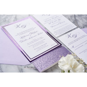 Foil and Glitter Wedding Invitation, Katherine - All That Glitters Invitations