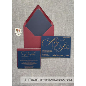 Foil on Navy Blue Wedding Invitation, Adam - All That Glitters Invitations