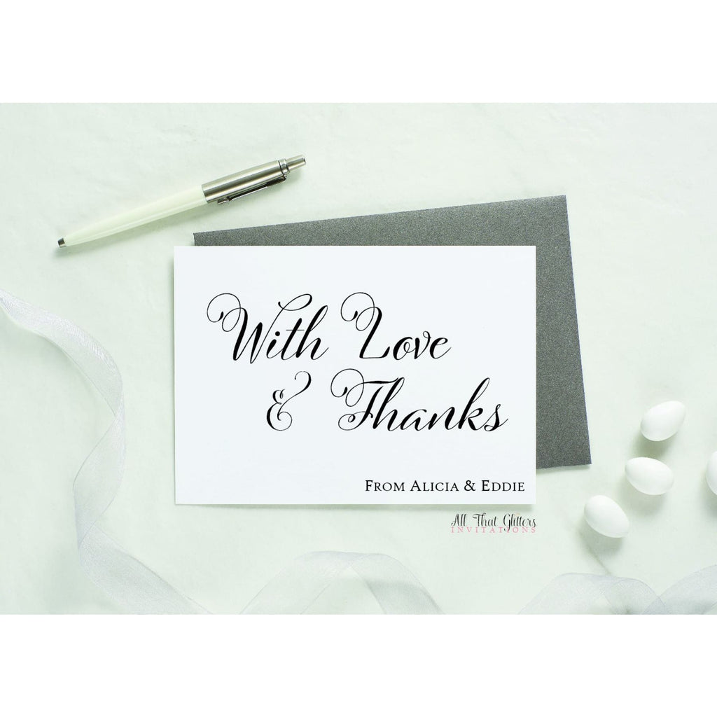 Folded Thank You Card, Alicia Style 1 - All That Glitters Invitations