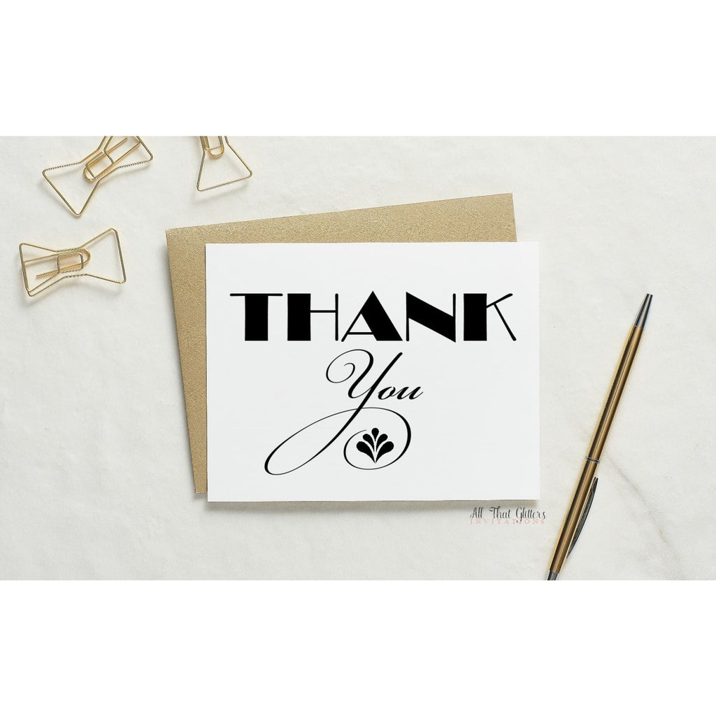 Folded Thank You Card, Art-Deco Style 1 - All That Glitters Invitations