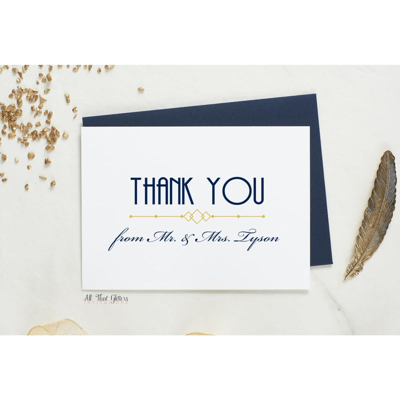 Folded Thank You Card, Art-Deco Style 2 - All That Glitters Invitations