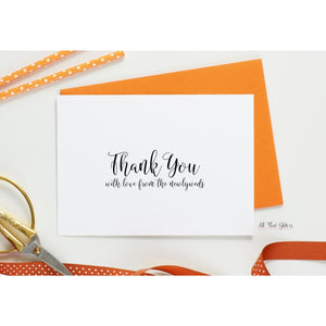 Folded Thank You Card, Cassidy Style - All That Glitters Invitations