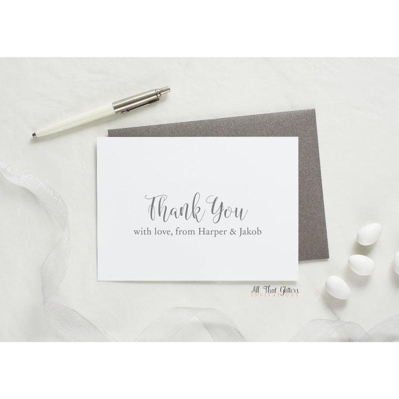 Folded Thank You Card, Harper - All That Glitters Invitations