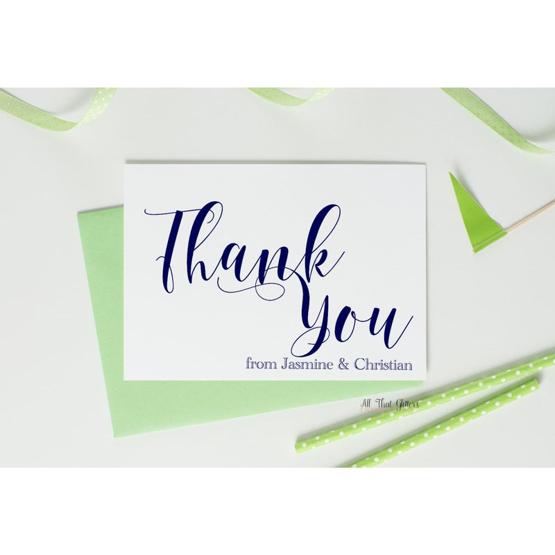 Folded Thank You Card, Jasmine - All That Glitters Invitations