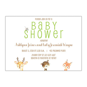 Forest Animals Baby Shower Invitations - All That Glitters Invitations