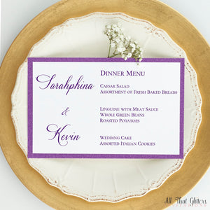 Formal Elegance Wedding Reception Menu, Sarahphina - All That Glitters Invitations