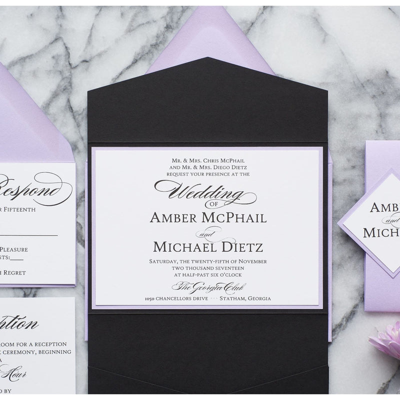 Formal Elegant Wedding Invitation, Amber - All That Glitters Invitations