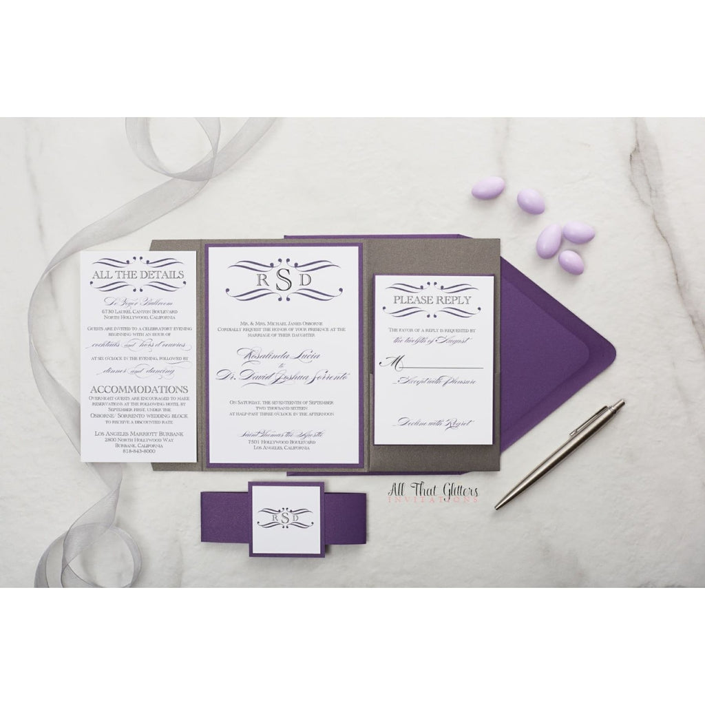 Formal Monogram Wedding Invitation, Rosie - All That Glitters Invitations