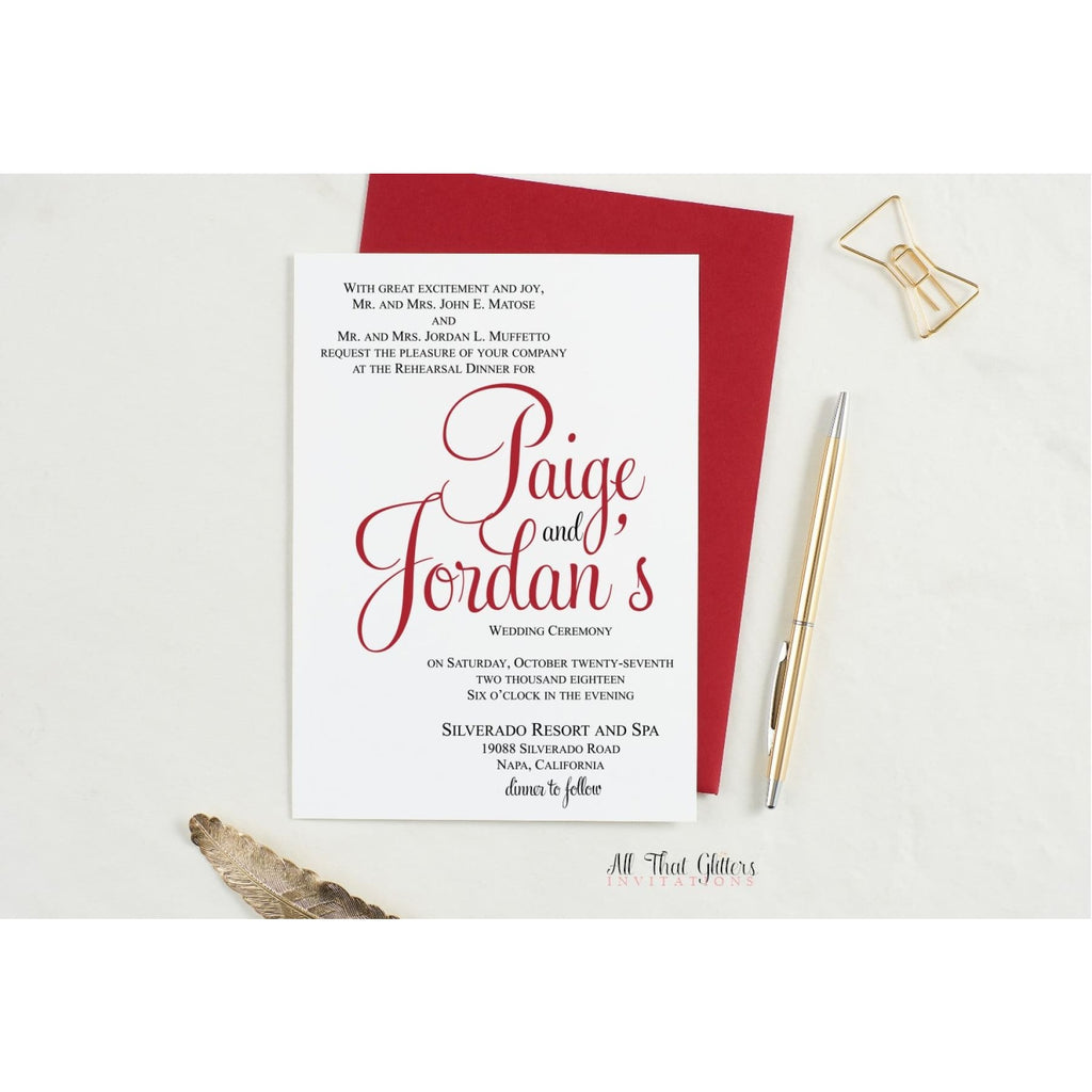 Formal Rehearsal Dinner Invitation, Paige - All That Glitters Invitations