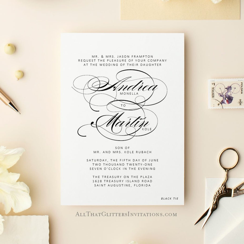 Formal Wedding Invitation, Andrea - All That Glitters Invitations