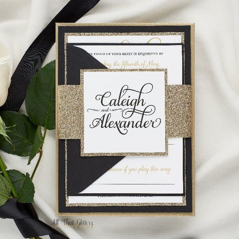 Formal Wedding Invitation with Glitter, Caleigh - All That Glitters Invitations