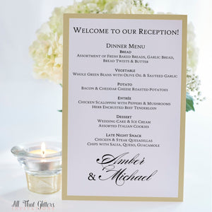 Formal Wedding Reception Dinner Menu, Amber - All That Glitters Invitations
