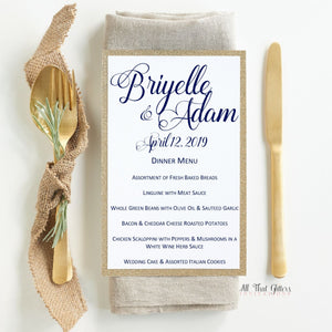 Formal Wedding Reception Dinner Menu, Briyelle - All That Glitters Invitations