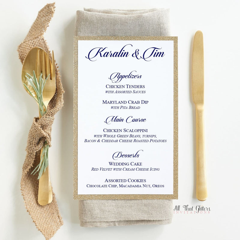 Formal Wedding Reception Dinner Menu, Karalin - All That Glitters Invitations