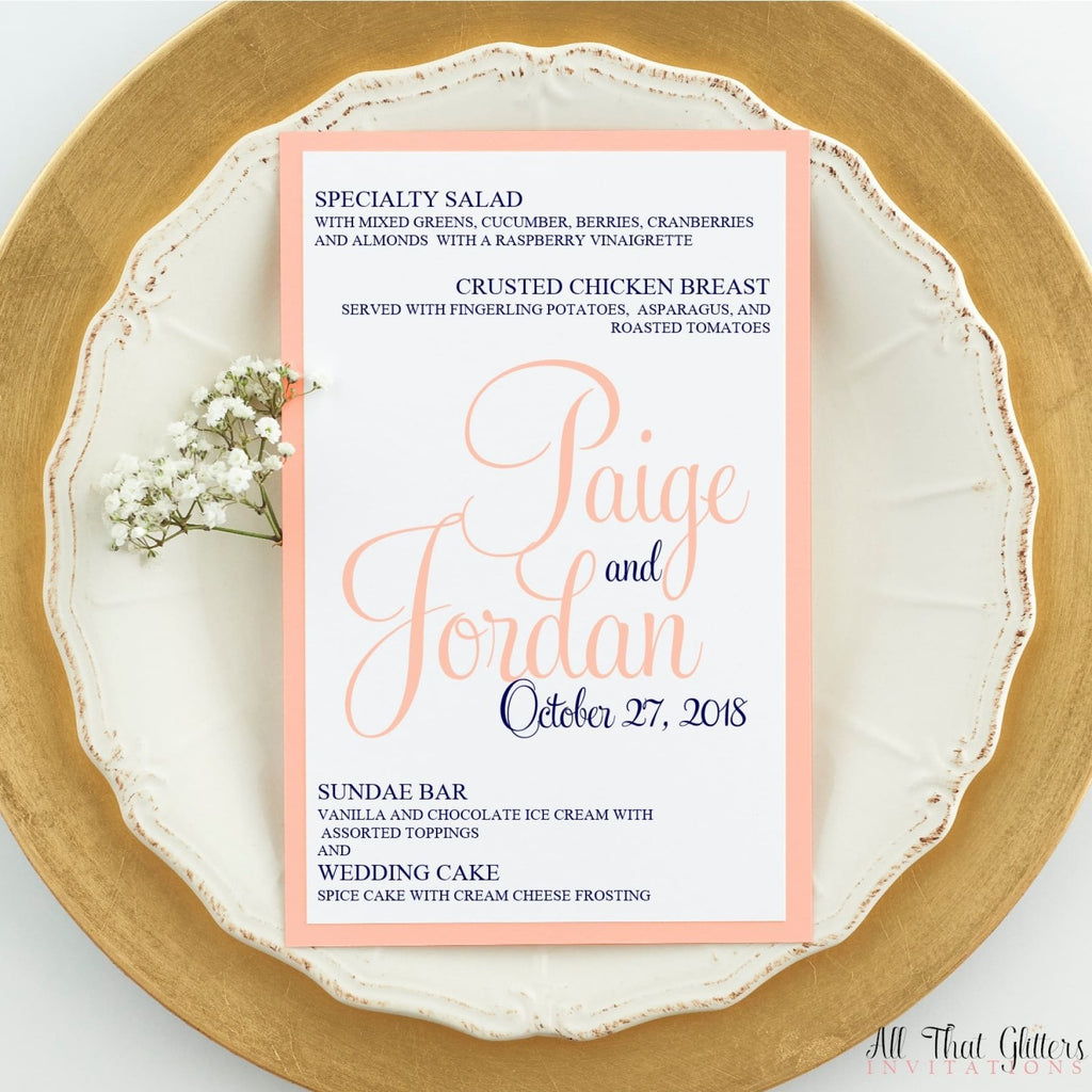 Formal Wedding Reception Dinner Menu, Paige - All That Glitters Invitations