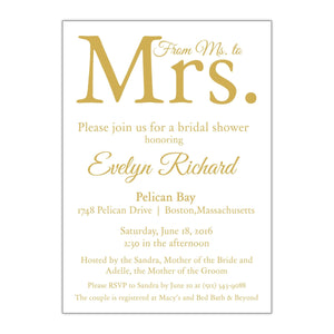 From Ms. to Mrs. Bridal Shower Invitation - All That Glitters Invitations