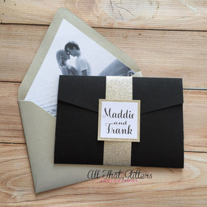 Fun and Modern Wedding Invitation, Madelyn - All That Glitters Invitations