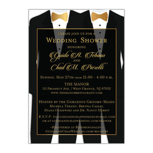 Gay Two Tuxedos Wedding Shower Invitation - All That Glitters Invitations