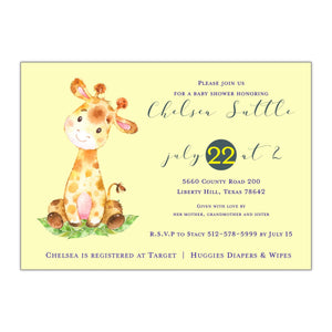 Giraffe Baby Shower Invitation - All That Glitters Invitations