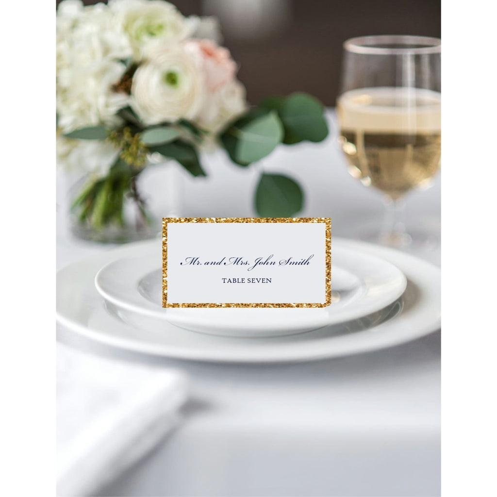 Glitter Backed Wedding Reception Place Cards - All That Glitters Invitations