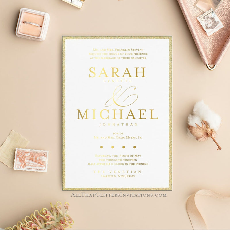 Glitter Border Fancy XL Wedding Invitation - All That Glitters Invitations