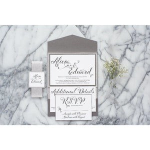 Glitter Wedding Invitation Suite, Alicia - All That Glitters Invitations