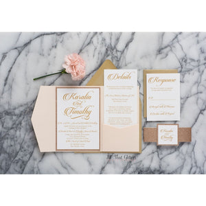 Glitter Wedding Invitation with Pocketfold, Karalin - All That Glitters Invitations