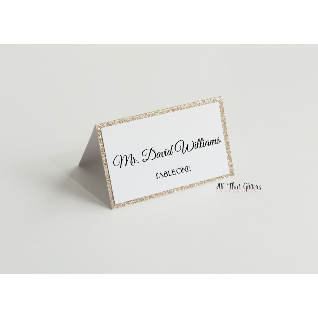 Glitter Wedding Reception Place Cards - All That Glitters Invitations