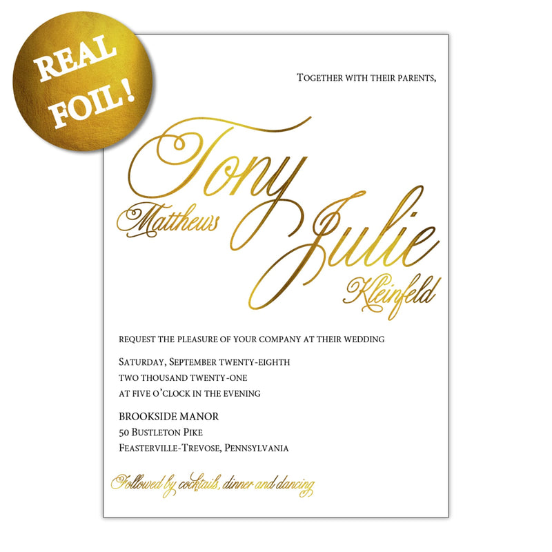 Gold Foiled Script Wedding Invitation, Tony - All That Glitters Invitations