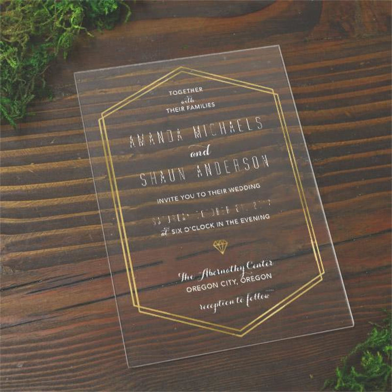 Gold Line Acrylic Wedding Invitation - All That Glitters Invitations