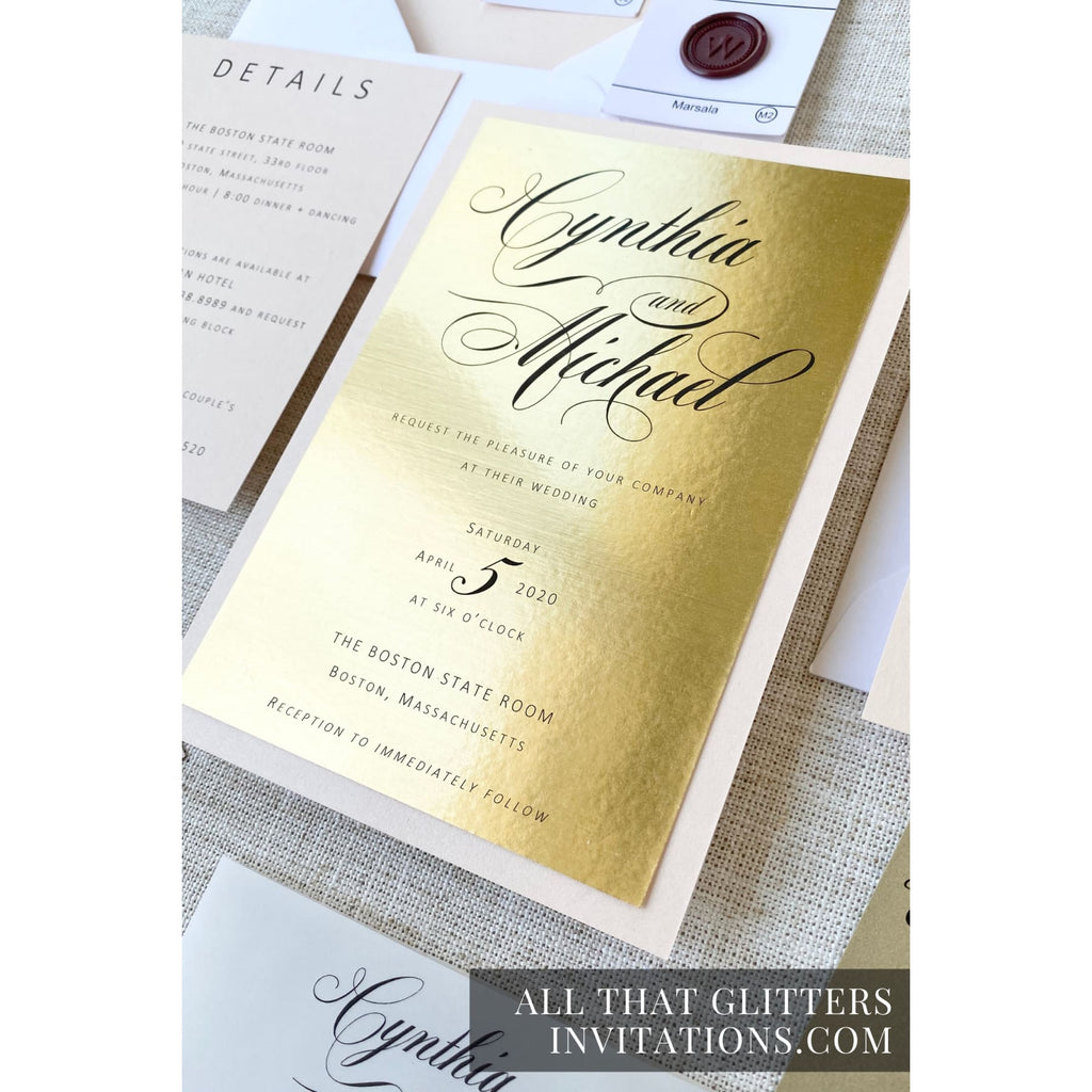 Gold Wedding Invitation on Foil, Cynthia - All That Glitters Invitations
