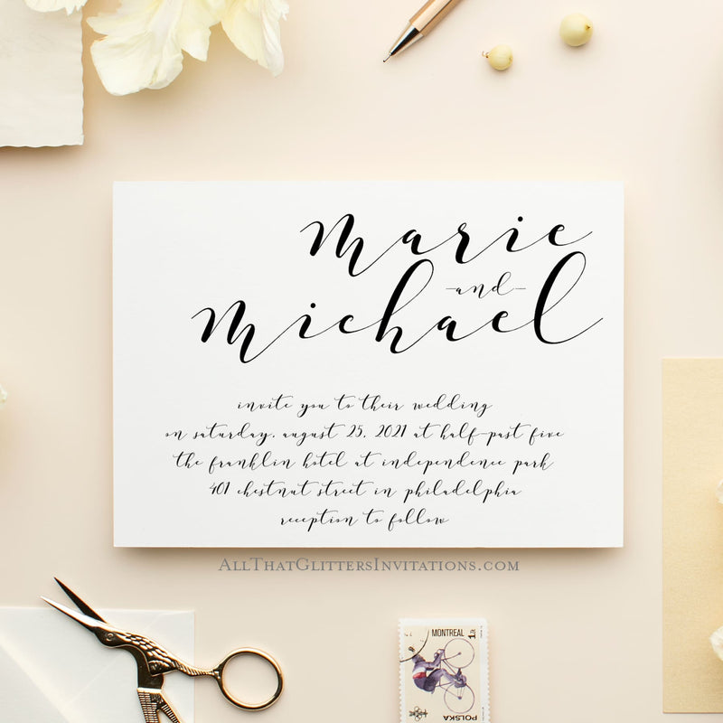 Hand Calligraphy Wedding Invitation, Maria - All That Glitters Invitations