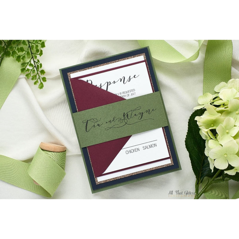 Hand Calligraphy Wedding Invitation, Tia - All That Glitters Invitations