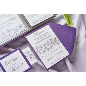 Hand Drawn Flower Wedding Invitation, Aimee - All That Glitters Invitations