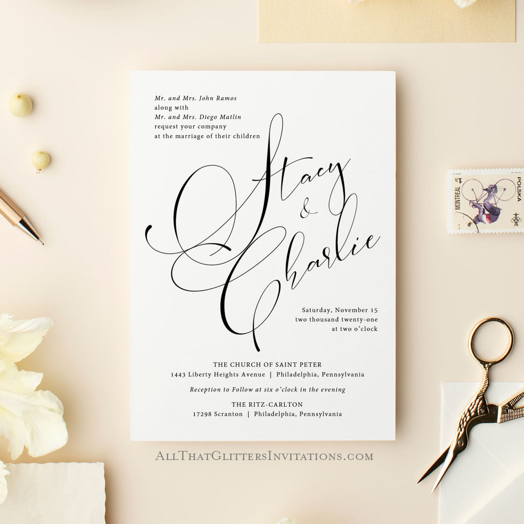 Handscript Calligraphy Wedding Invitation, Stacy - All That Glitters Invitations