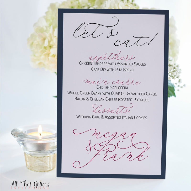 Handwritten Wedding Reception Menu, Megan - All That Glitters Invitations
