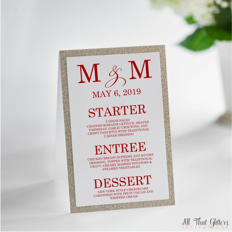 Initials Wedding Reception Menu, Melanie - All That Glitters Invitations
