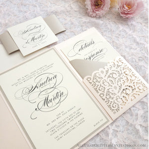 Laser Cut Pocket Wedding Invitation, Andrea - All That Glitters Invitations